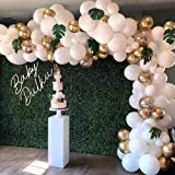 Balloon Garland Arch Kit, White Gold Confetti Balloons 101 PCS, Artificial Palm Leaves 6 PCS, Balloons for Parties, Party Wed