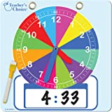 "Educational Teaching Clock | Large 12"" Demonstration Learning Time Clock with Erasable Writing Surface to Teach Time, Rainbow"