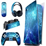 PlayVital Blue Nebula Full Set Skin Decal for PS5 Console Digital Edition, PS5 Sticker Vinyl Decal Cover for Playstation 5 &