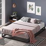 Zinus Joesph Double Low Bed Base Frame 15cm Modern Studio Industrial Bed - Metal Steel Bed Frame Wood Slats Wooden