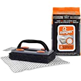 Q-Swiper BBQ Grill Brush Cleaner Set - 1 Brush Handle with Scraper and 25 BBQ Grill Cleaning Wipes. Bristle Free & Wire Free.