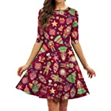 BarbedRose Women's 3D Ugly Christmas Print Round Neck Casual Flared Midi Dress