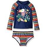 KIKO & MAX Baby-Girls Swim Suit Set with Long Sleeve Rashguard Swim Shirt Two Piece Bikini