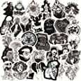 50PCS Gothic Stickers for Water Bottle,Black White Skull Stickers,Waterproof Vinyl Stickers Perfect for Hydro Flask Laptop Ph