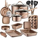 20-Piece Nonstick Kitchen Cookware Set - PTFE/PFOA/PFOS-Free Heat Resistant Lacquer Kitchen Ware Pots Baking Pan Set w/Saucep