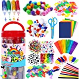 FunzBo Arts and Crafts Supplies Jar for Kids - Craft Art Supply Kit for Toddlers Age 4 5 6 7 8 9 - All in One D.I.Y. Crafting