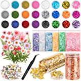 Resin Jewelry Making Supplies Kit, Thrilez Resin Decoration Kit with Resin Glitter, Gold Foil Flakes, Dried Flowers, Mylar Fl