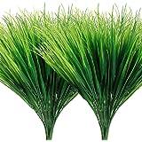 AGEOMET 14pcs Artificial Plant Green Plastic Plant Outdoor UV Plant Artificial Plastic Wheat Grass for Home Garden Window Sil