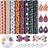 Caydo 8 Pieces Halloween Theme Faux Leather Sheet with Earring Hooks, Hair Clips for Making Halloween Hair Bowsand Earrings