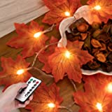 Thanksgiving Lights, Halloween String Lights, Maple Leaves Garland String Lights with 20 LED, Battery Operated Lights for Out