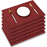 PABUSIOR Placemats for Dining Table Set of 6 Washable - Easy to Clean Woven Vinyl Placemat, 12 X 18 Inch Non-Slip Durable Cro