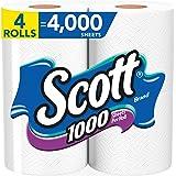 Scott 1000 Sheets Per Roll Toilet Paper, 4 Rolls, Bath Tissue