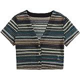 SheIn Women's Short Sleeve V Neck T-Shirt Striped Button Front Crop Tee Tops