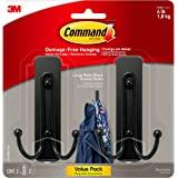 Command 17036MB-2ES Large Wall hooks, 2 Pack, Matte Black