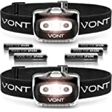 Vont 'Spark' LED Headlamp Flashlight (2 Pack, Batteries Included) Head Lamp Gear Suitable for Running, Camping, Hiking, Climb