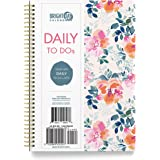 Undated Floral Soft Cover Day Planner Spiral Bound Organizer Book by Bright Day, Daily to Do List Notes and Goals, 6.25 x 8.2