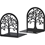 MAXFOUNDRY Bookends Decorative, Tree of Life Book Ends, Metal Bookends, Black Book Ends, Bookends for Shelves, Book Ends for