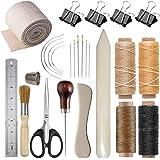 VENCINK 21Pcs Bookbinding Starter Tools Set Genuine Bone Folder Paper Creaser Large-Eye Needles Waxed Linen Thread Wood Handl