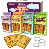 Math Flash Cards Set of 4 packs: Multiplication , Division , Addition , Subtraction FlashCards With Rings , Kids Educational