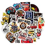 50 PCS Laptop Sticker Hot Rod Classic Car Theme Stickers Waterproof Vinyl Scrapbook Stickers Car Motorcycle Bicycle Luggage D