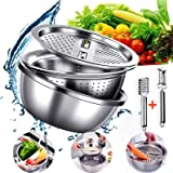 Stainless Steel Grater, Drain Basket, Rice Basket, Vegetable Cutter, 5-in-1 Kitchen and Household Multifunctional Vegetable C