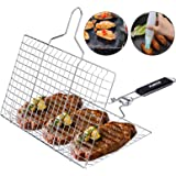 ACMETOP BBQ Grill Basket, Stainless Steel Grilling Basket with Removable Handle, Perfect for Grilling Vegetables, Fishes, Shr