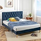 Zinus Misty USB Queen Velvet Bed Frame   Upholstered Button Tufted  Bedroom Furniture