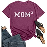 FAYALEQ Mom3 Shirt Women Letter Print Short Sleeve Tops Funny Graphic Tees Mama Casual T Shirt