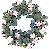 idyllic Eucalyptus and Cotton Wreath, 14 Inches Artificial Wreath on a Natural Twig Base for Farmhouse, Garden, Wedding, Deco