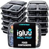 Igluu Meal Prep Containers [10 pack] 3 Compartment with Airtight Lids - Plastic Food Storage Bento Box - BPA Free - Reusable