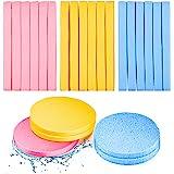 120 Pieces Compressed Facial Sponge Face Cleansing Sponge Makeup Removal Sponge Pad Exfoliating Wash Round Face Sponge (Pink,