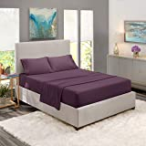 King Size Bed Sheets Set Purple, Bedding Sheets Set on Amazon, 4-Piece Bed Set, Deep Pockets Fitted Sheet, 100% Luxury Soft M
