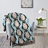 "Sharkog Cute Penguin Cozy Fleece Throw Blanket Made from Plush Flannel Throw Blanket Home Bed Sofa Decorations 60"""" X50"