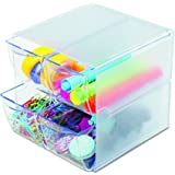 "Deflecto Stackable Cube Organizer, Desk and Craft Organizer, 4 Drawers, Clear, Removable Drawers and Dividers, 6"" W x 6"" H x"