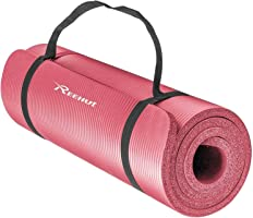 Reehut 1/2-Inch Extra Thick High Density NBR Exercise Yoga Mat for Pilates, Fitness & Workout w/Carrying Strap