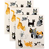 DII Swedish Dishcloth Set Cleaning Collection, 7.75x6.75, Cats Everywhere 3 Piece