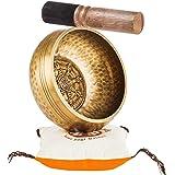 Tibetan Singing Bowl Set By TANTRA SOUNDS - Third Eye Chakra Healing & Meditation Yoga Prayer Bowl with Mallet Cushion & Bag