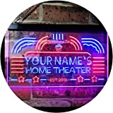 Personalized Your Name Custom Home Theater Established Year Dual Color LED Neon Sign Red & Blue 400 x 300 mm st6s43-ph1-tm-rb