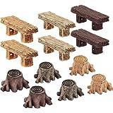 12 Pieces Miniature Fairy Garden Ornaments, Includes 6 Pieces Retro Wooden Style Benches, 6 Pieces Artificial Mini Root Stump