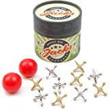 Rocket Box Jacks Game: Retro, New Vintage, Classic Game of Jacks, Gold and Silver Toned Jacks, Two Red Bouncy Balls and Set o