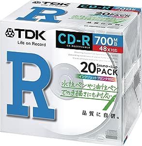 TDK データ用 CD-R 700MB 48X ホワイトプリンタブル 20枚パック CD-R80PWX20A