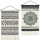 2 Pcs Macrame Woven Tapestry Bohemian Mandala Tapestries Geometric Art Tapestry Black and White Tapestry Wall Hanging for Apa