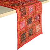 RAJRANG Vintage Style Rajasthani Patchwork Table Runner - Decorative Luxury Coffee Table Placemat Hand Embroidered Colorful R