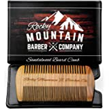 Beard Comb - Natural Organic Sandal Wood for Hair - Scented Fragrance Smell with Anti-Static & No Snag, Handmade Fine Tooth B