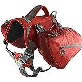 Kurgo Big Baxter™ Dog Backpack, Dog Saddlebag, Dog Pack, Adjustable Saddlebag for Hiking, Walking, Running, Camping, Chili Re