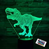 Dinosaur Lamp,FULLOSUN 3D Illusion Night Light Kids Toy, 16 Colors Changing Remote Control Optical Bedroom Decor Perfect Birt