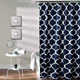 Lush Decor Geo Shower Curtain, 72 Inches X 72 Inches, Navy