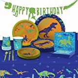 My Greca Dinosaur Party Supplies Set - Plates, Cups, Napkins, Happy Birthday Banner, Table Cover, Cutlery Kit - Serves 16 - J