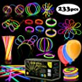 """Multicolor Glow Sticks Bulk Party Pack - 248 Piece Light Stick Set - Includes 100x 8"""" Glow Sticks, 10x 11"""" Glow Sticks, 4x 3"""
