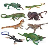 UANDME 8pcs Lizard Animal Figurines Realistic Reptile Animal Figures Chameleon Prank Props Scary Toy Playset Wilde Life Creat